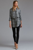 Dynamite Belted Long Sleeve Plaid Tunic