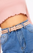 PrettyLittleThing Pink Thin Eyelet Detail Belt