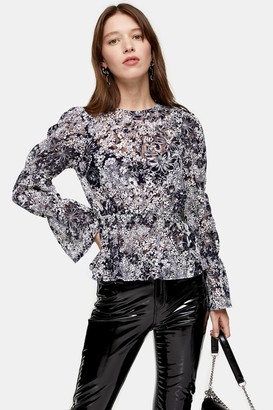 Topshop Womens Navy Floral Lace Shirred Sleeve Top - Navy Blue