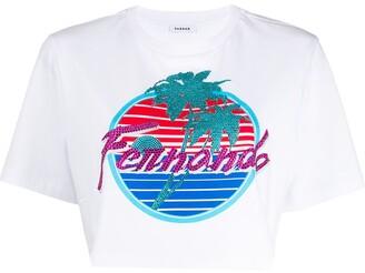 P.A.R.O.S.H. graphic print cropped cotton T-shirt