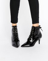 Daisy Street Lace Up Point Mid Heeled Ankle Boots