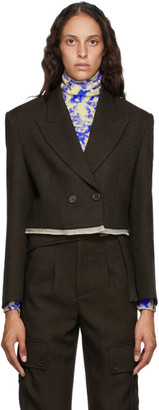 ANDERSSON BELL Brown Cropped Double-Breasted Camilla Blazer