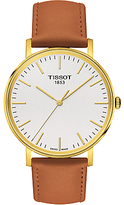 Tissot T1094103603100 Everytime Leather Strap Watch, Tan/white
