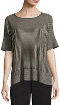 Eileen Fisher Half-Sleeve Linen Knit Striped Top, Natural/Black, Petite