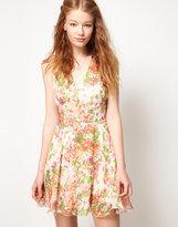 Chiffon Rainbow Floral Cut Out Dress