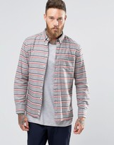 Penfield Hants Horizontal Stripe Shirt Button In Regular Fit Brushed Cotton