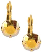Liz Palacios Rounded Square Earrings, Gold Plated Swarovski Crystal Drop Earrings in