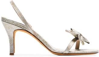 Maryam Nassir Zadeh metallic Flora 85 snakeskin bow slingback sandals