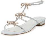 Rene Caovilla Crystal Bow-Embellished T-Strap Flat Sandal, White
