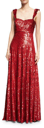 Valentino Sleeveless Sequined Silk Sweetheart Gown, Red