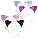 Mudder 4 Pieces Glitter Cat Ear Headbands Kitty Headbands Cat Ear Hair Hoops for Daily Wearing and Party Decoration