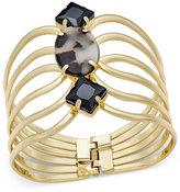 Thalia Sodi Gold-Tone Stone Hinged Cuff Bracelet, Created for Macy's