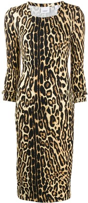 Burberry Leopard Print Fitted Dress