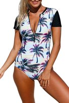 Viottis Women's Zip-up Foral Print Pad One-piece Swimsuit Rashguard S