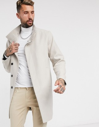 ASOS DESIGN wool mix overcoat with funnel neck in stone