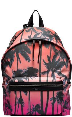 Saint Laurent City palm print backpack