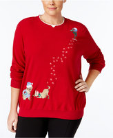 Alfred Dunner Plus Size Dog Holiday Sweater