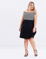 Scuba Bardot Fit-and-Flare Dress