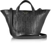 Meli-Melo Black Woven Leather Rosalia Mini Cross Body Bag