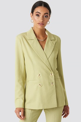 NA-KD Straight Fit Double Breasted Blazer Green