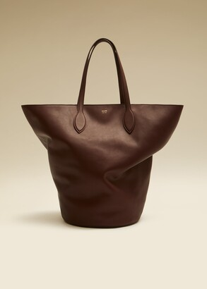 KHAITE The Medium Circle Tote in Deep Red Leather