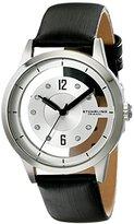 Stuhrling Original Women's 946L.01 Winchester Quartz Swarovski Crystal-Accented Black Genuine Leather Strap Watch
