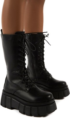 Public Desire Uk Jena Calf High Lace Up Chunky Sole Boots