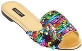 Dolce & Gabbana 10mm Bianca Sequined Leather Sandals