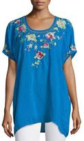 Johnny Was Blooming Bouquet Short-Sleeve Embroidered Blouse, Plus Size