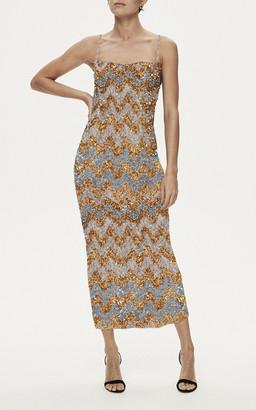 Rachel Gilbert Callum Embellished Chevron Gown