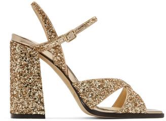 Jimmy Choo Gold Glitter Joya Heeled Sandals