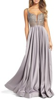 La Femme Women's Studded Illusion Ballgown
