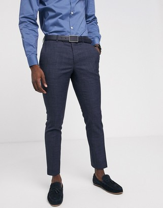 Moss Bros suit pants in blue puppytooth