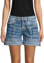 Miss Me Paint Splatter Denim Shorts