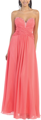 Mayqueen MayQueen Women's Special Occasion Dresses Coral - Coral Strapless Sweetheart Dress - Women