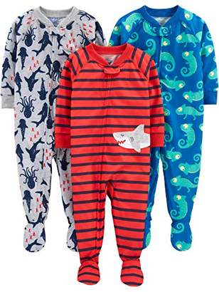 Carter's Simple Joys by Boys' 3-Pack Loose Fit Flame Resistant Polyester Jersey Footed Pajamas