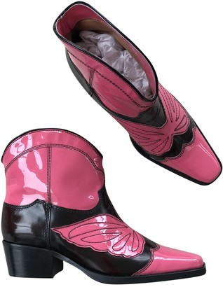 Ganni Fall Winter 2019 Pink Patent leather Boots