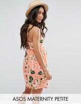 Asos PETITE Floral Print Lace Up Back 90s Skater Dress