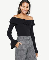 Ann Taylor Off The Shoulder Ruffle Cuff Sweater