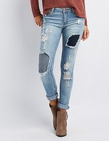 Charlotte Russe Distressed Patchwork Boyfriend Jeans