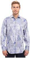 Thomas Dean & Co. Long Sleeve Woven Paisley Jacquard