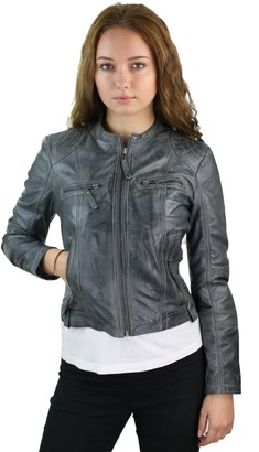 Aviatrix Ladies Real Leather Jacket Short Fitted Vintage Style Blue Retro Chinese Collar