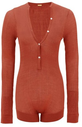 Dodo Bar Or Tommy Buttoned Rib-knitted Silk Bodysuit - Brown