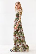 Ecote Floral Fishnet Long-Sleeve Maxi Dress