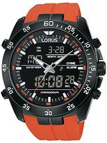 Lorus Rw625ax9 Dual Chronograph Silicone Strap Watch, Orange/black