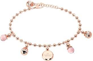 Rebecca Boulevard Stone Rose Gold Over Bronze Bracelet w/Hydrothermal Pink Stones