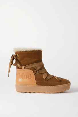 See by Chloe Leather-trimmed Suede And Shearling Ankle Boots