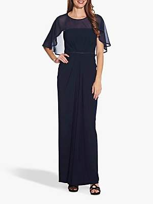 Adrianna Papell Chiffon Jersey Draped Dress, Midnight