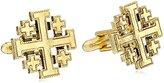 "Symbols of Faith ""Inspirations"" 14k Gold-Dipped Jerusalem Cross Round Cuff Links"