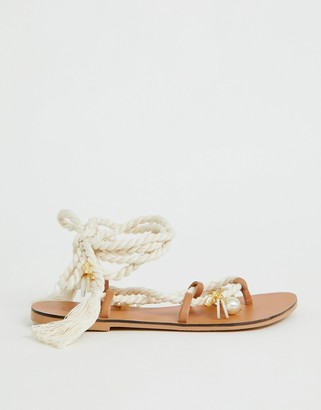 Asos Design DESIGN Fields embellished tie leg flat sandals-Beige
